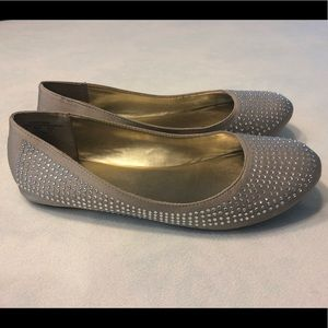 Tan ballet flats with sparkly rhinestones, size 8